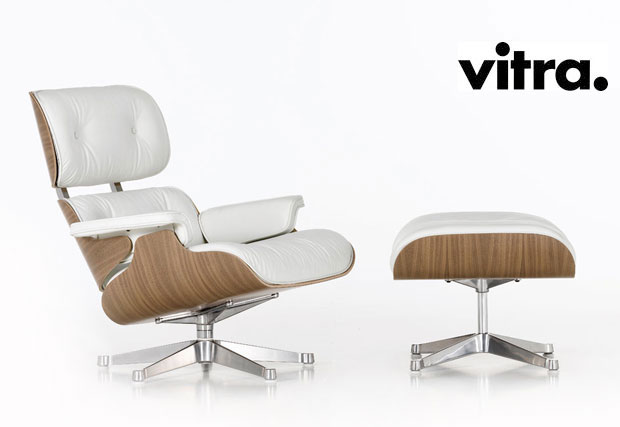 vitra lounge chair ottoman white design charles ray eames 1956. Black Bedroom Furniture Sets. Home Design Ideas