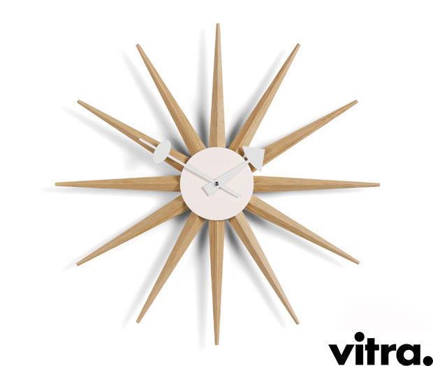 vitra sunburst wall clock eiche design george nelson. Black Bedroom Furniture Sets. Home Design Ideas