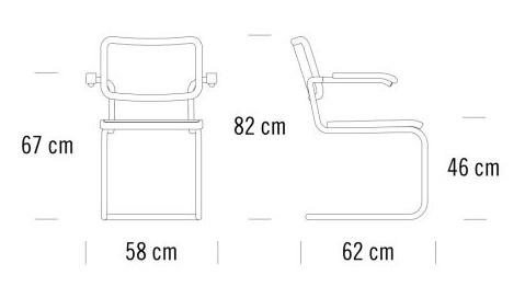 Thonet s 64 pv stuhl design marcel breuer mart stam for Design stuhl freischwinger piet 30