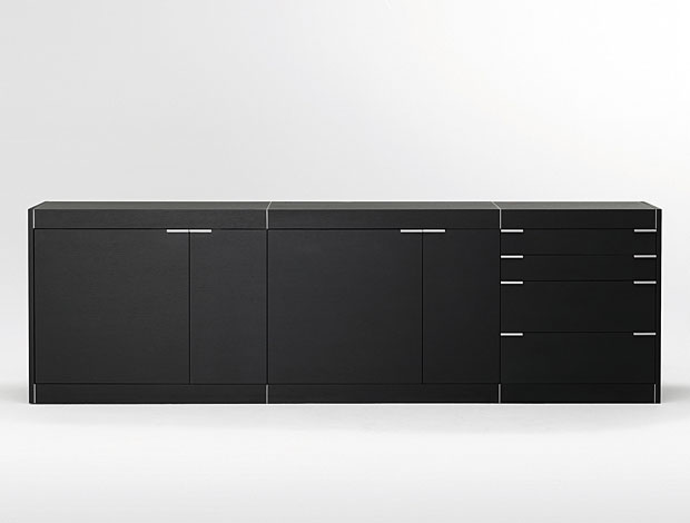 kommode sideboard ben v3 korpus in schwarz matt fronten in schwarz matt smash. Black Bedroom Furniture Sets. Home Design Ideas