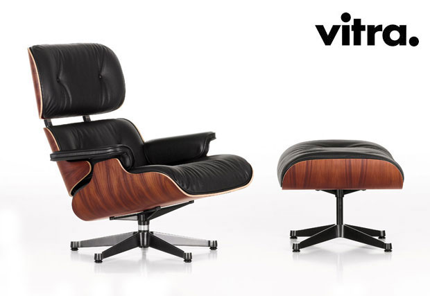 vitra lounge chair ottoman design charles ray eames 1956. Black Bedroom Furniture Sets. Home Design Ideas