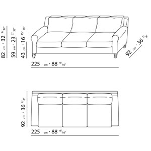 Flexform ugomaria sofa design antonio citterio for Sofa zeichnung