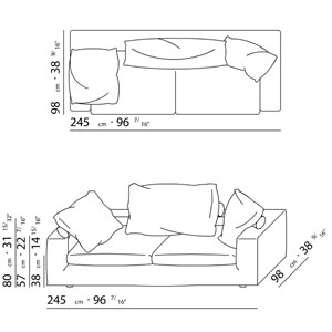 Flexform poggiolungo for Sofa zeichnung